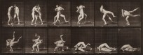 Two horizontal rows of vertical black-and-white photographs of two young men boxing