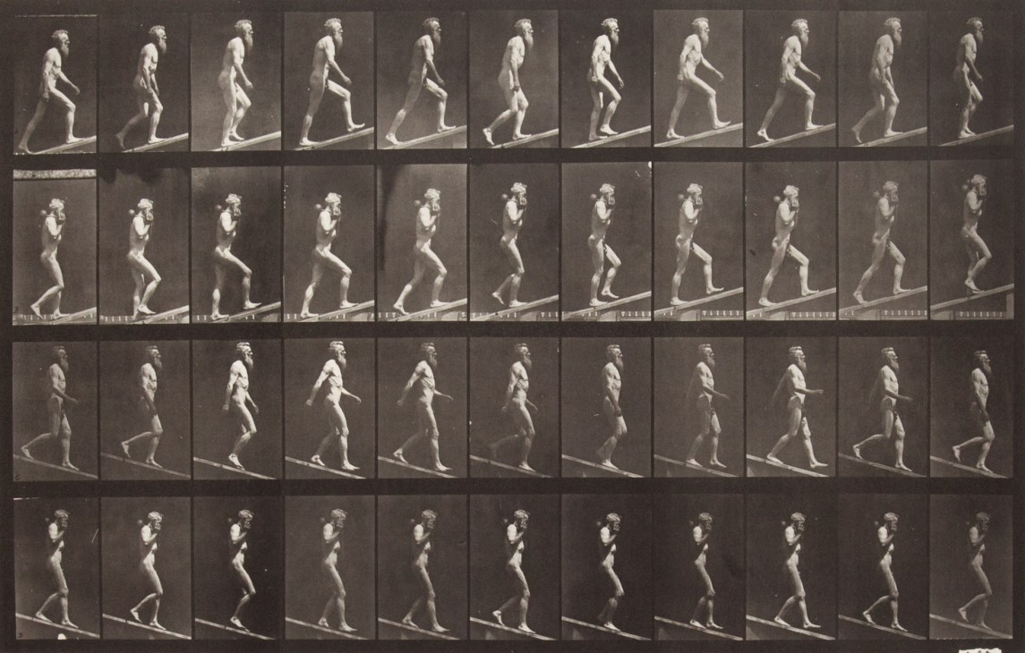 Sepia toned photograph with a grid of 44 panels showing a nude man walking on an incline. 12 panels show ascending motion; 12 show ascending motion carrying a dumbbell; 12 show descending motion; 12 show descending motion with a dumbbell.