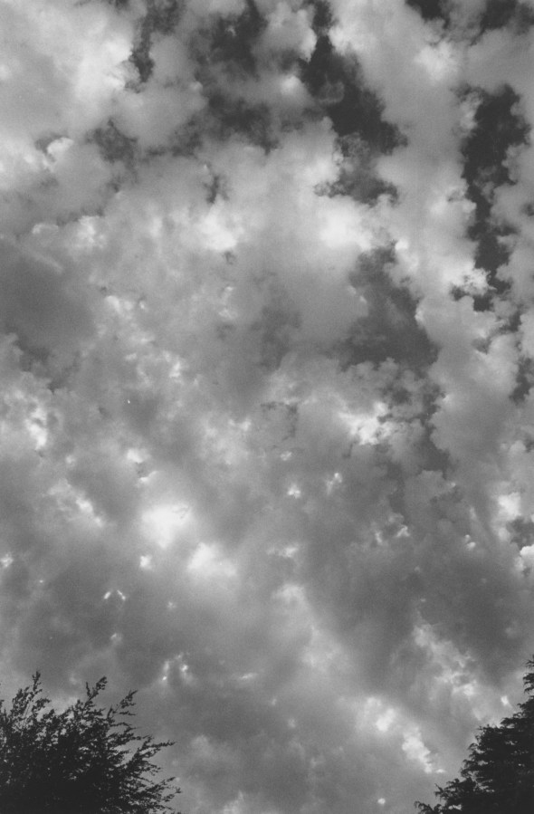 Black-and-white photograph of clouds