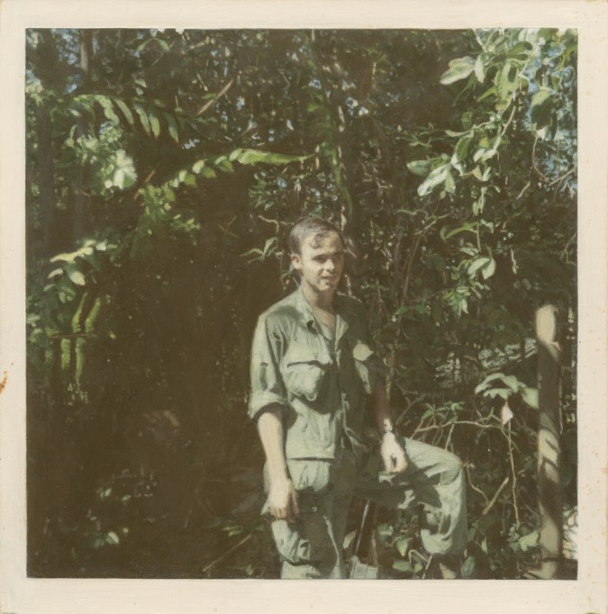 Painting of a person wearing fatigues standing in front of trees