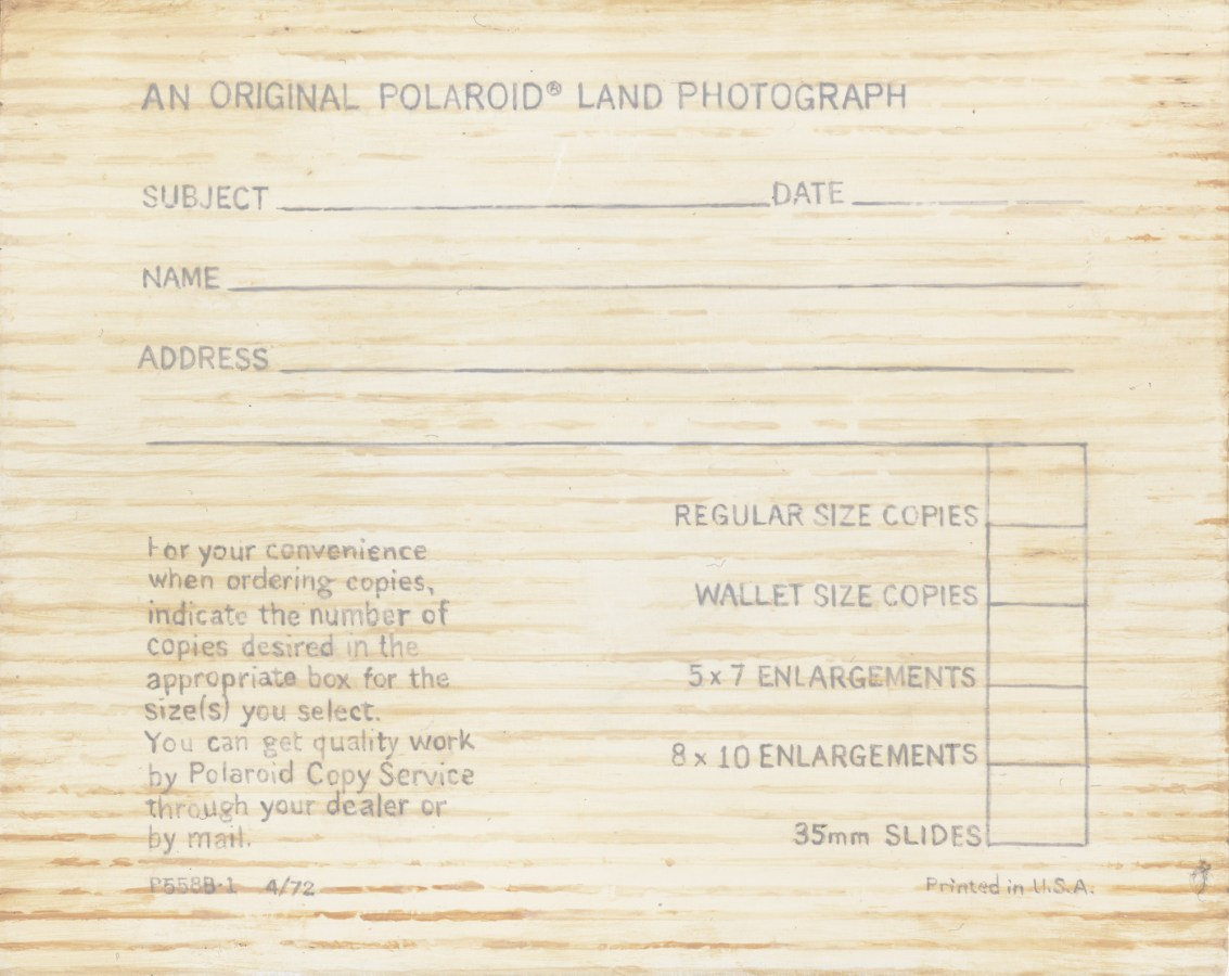 Verso of painting with a Polaroid land camera order form