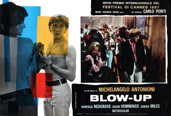 Blow-Up, Dir. Michelangelo Antonioni. Perf. Vanessa Redgrave, David Hemmings and Sarah Miles. MGM, 1966. Film poster.