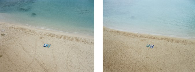 Two color photographs of two people lying on towels on the beach near the waterline of a calm sea