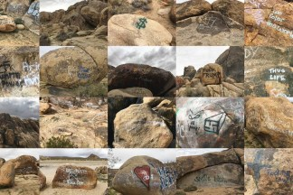 Grid of color photographs of rocks with graffiti spray painted on them