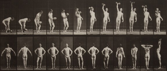 Two horizontal rows of vertical black-and-white photographs of a young man lifting a weight in the top row, and striking various standing poses in the bottom row