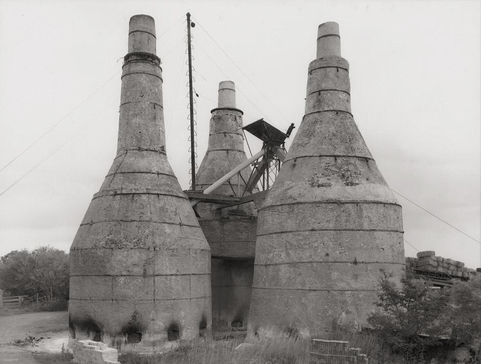 black and white photograph of a lime kiln