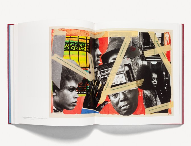 Open book of collaged artwork