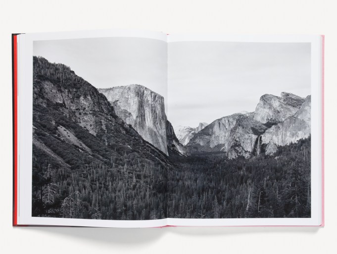 Open book of large format photographs