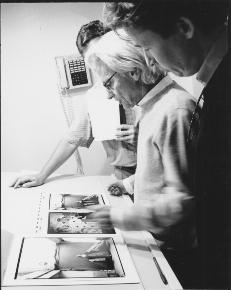 Richard Avedon reviewing proofs for the 2001 book and exhibition Made in France