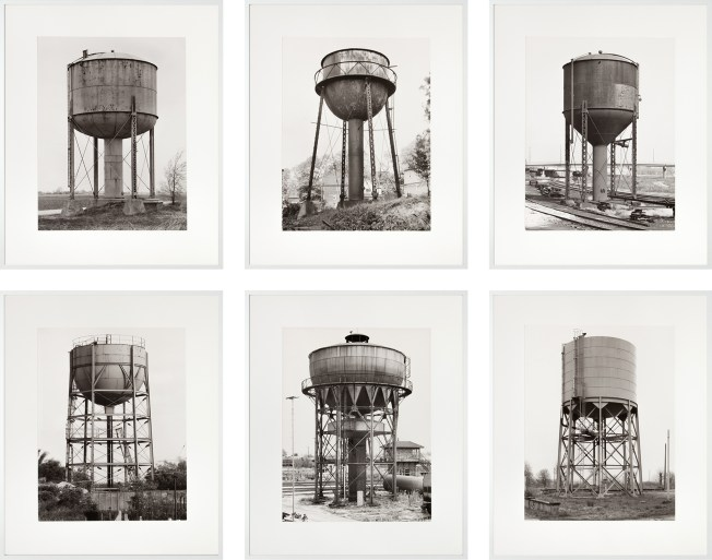 Group of six photographs of water towers