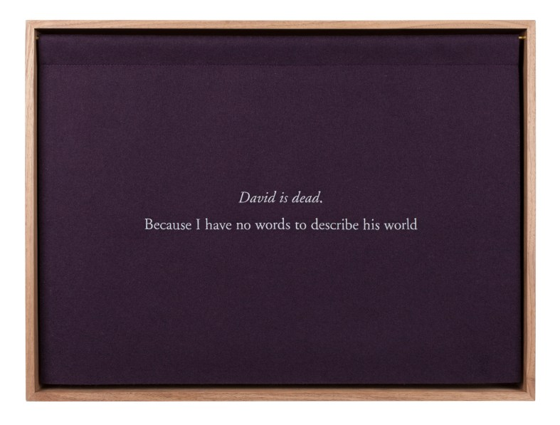 "A wooden box with a purple curtain, embroidered with white text ""David is dead. Because I have no words to describe his world."""