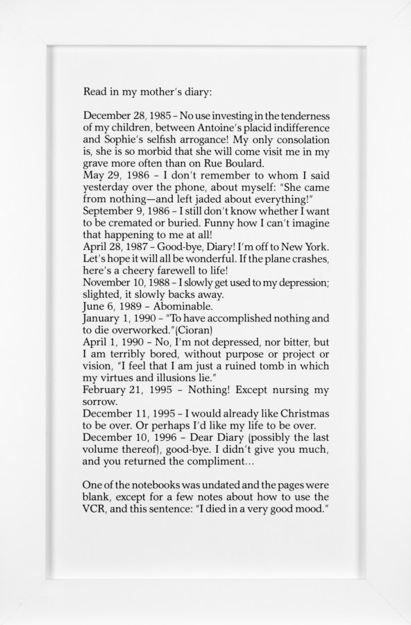 A vertical framed text panel of diary entries