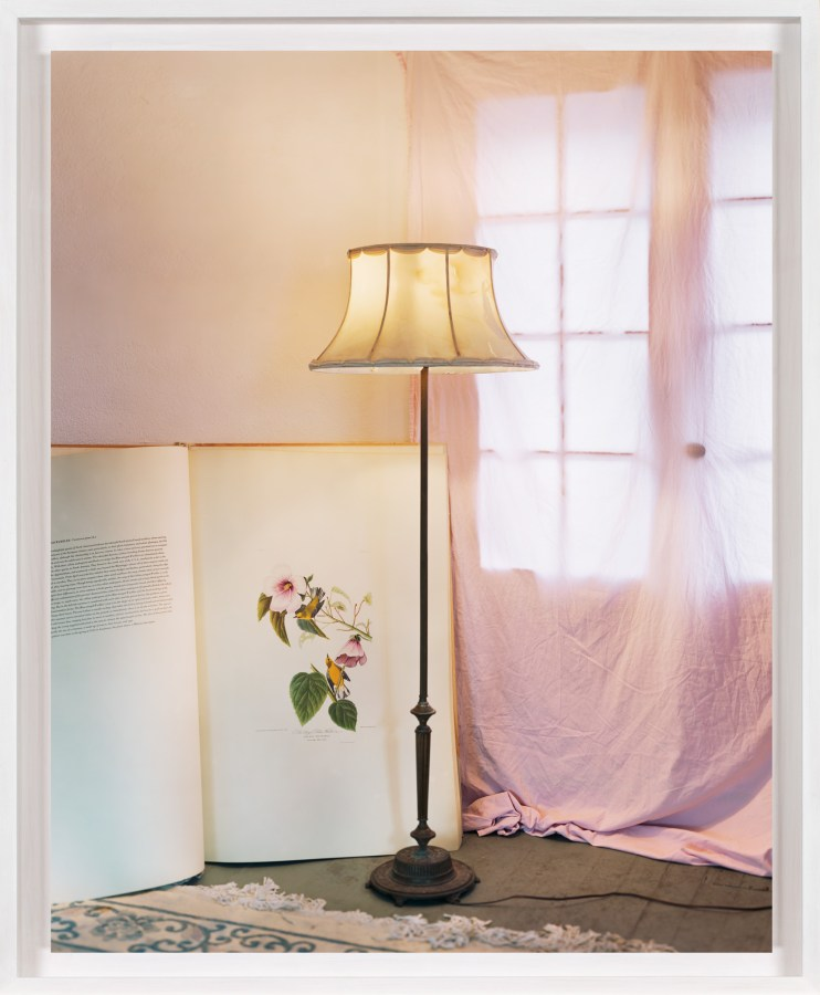A framed photograph of an oversized book, leaning against a wall next to a window with translucent pink curtains