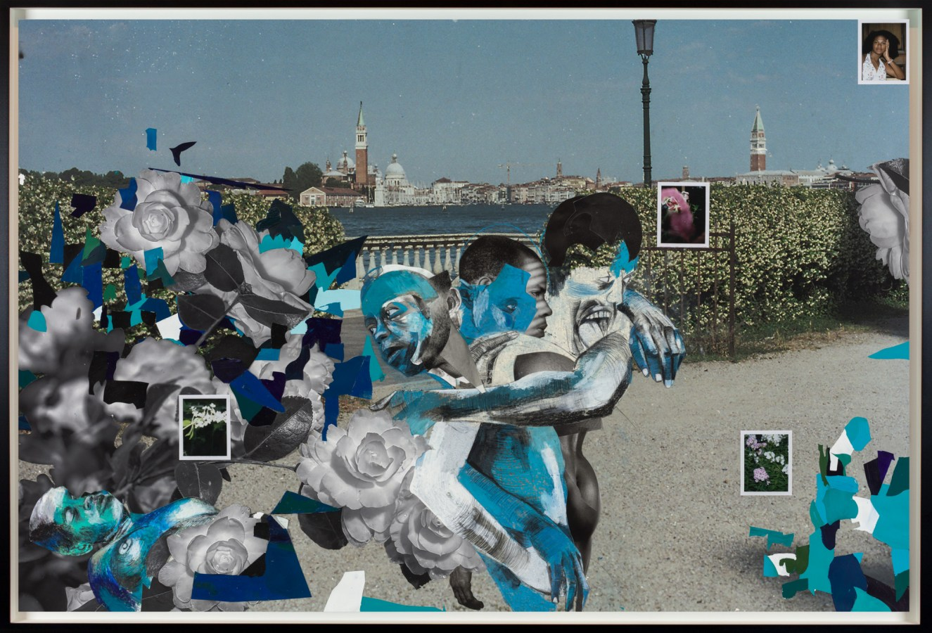 A collage of three figures embracing, surrounded by flowers. The background is an image of Venice.