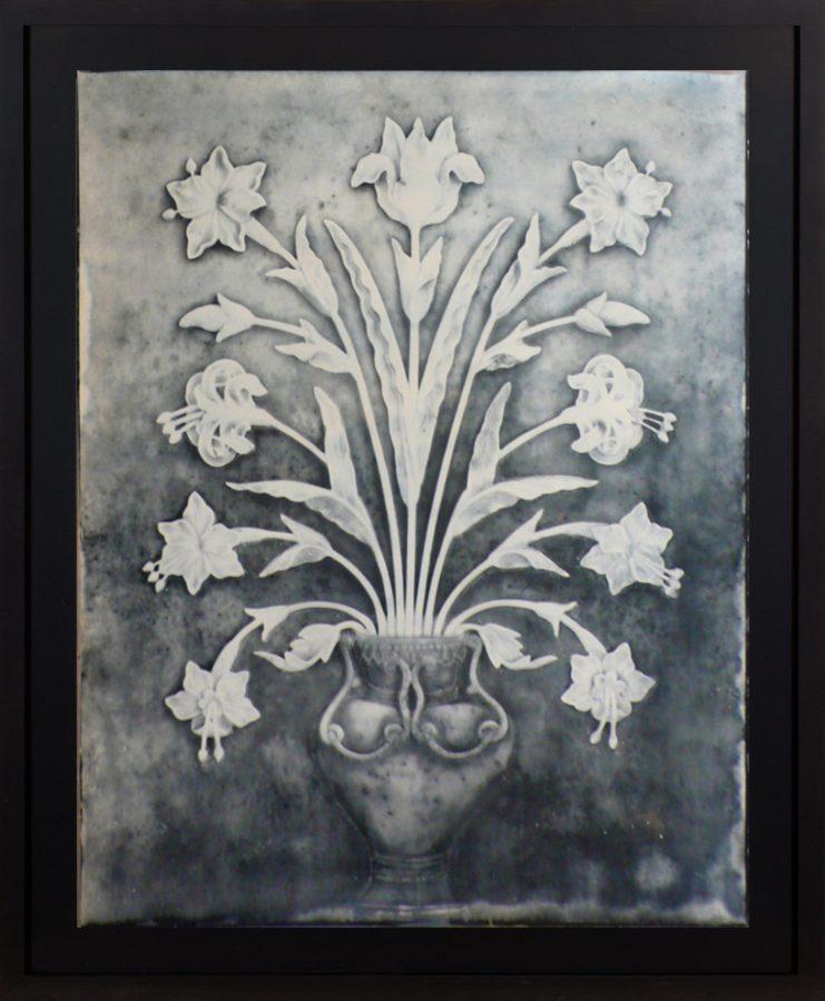 Daguerreotype of flowers in a vase