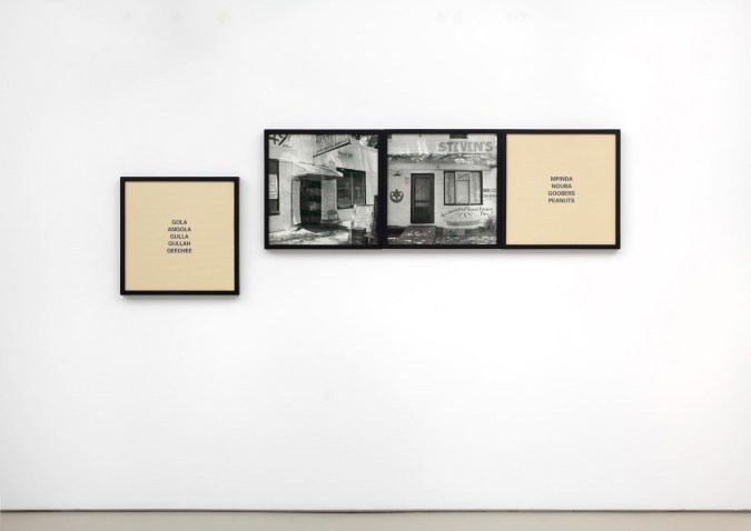 Installation view of two photographs and two text panels