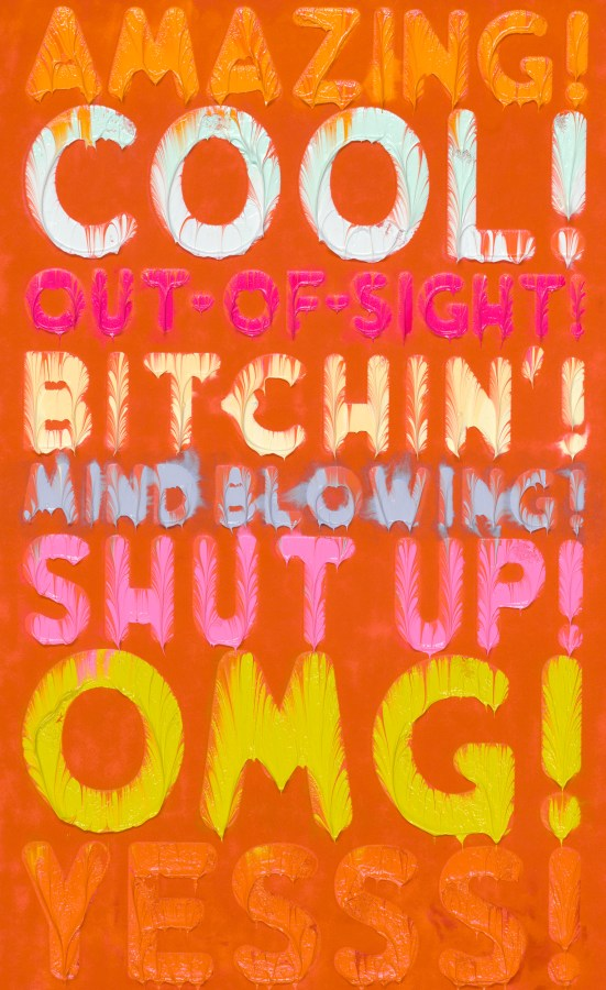 Orange canvas with multicolored dripping uppercase text overlaid