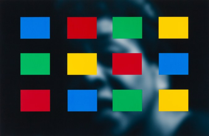 Artwork showing a soft-focus blue-toned portrait overlayed with blue, yellow, green, and red color blocks.