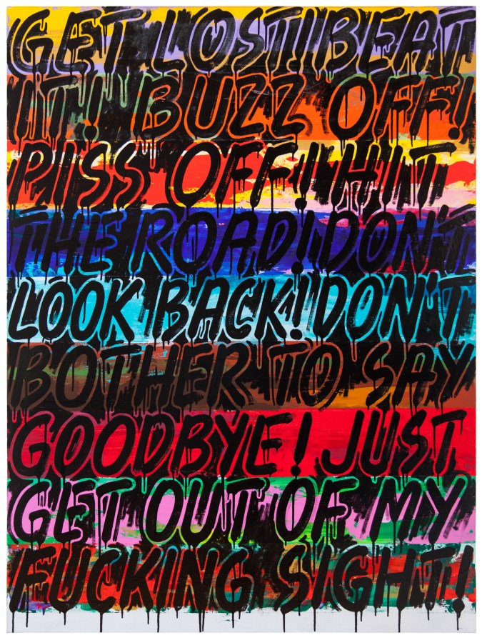 """A painting of black text on a bright, multicolored background of many synonyms of the phrase """"Get Lost!""""."""