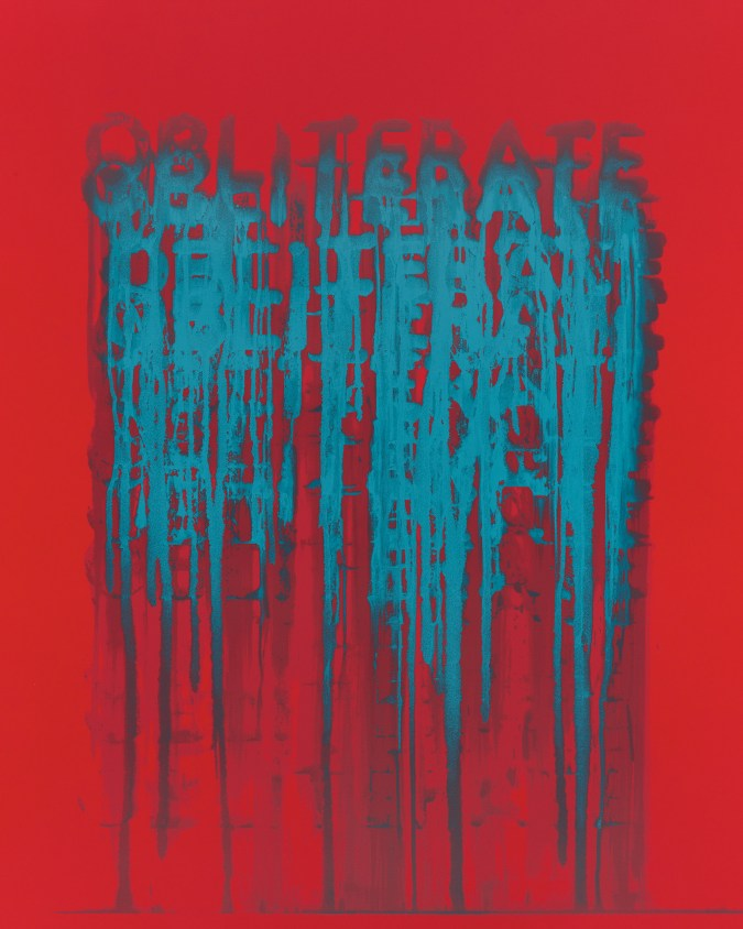 """A print on red paper of the word """"Obliterate"""" printed many times in blue text. The text drips down the page."""