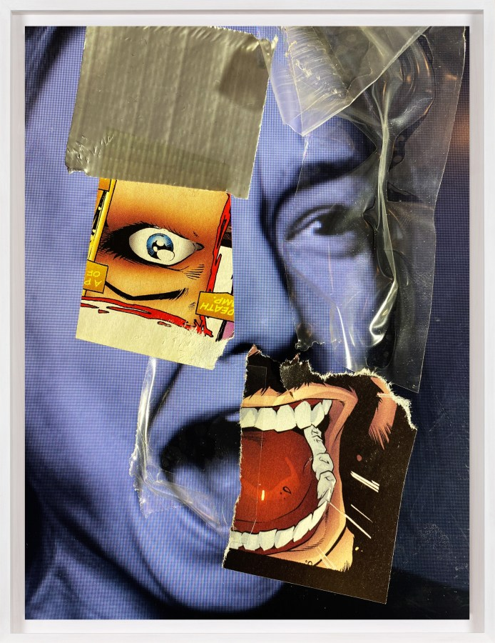 A framed collage of a blue screaming face, with comic book images glued on top.