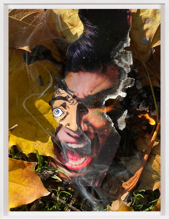 A framed color photograph of a screaming face from a comic book, torn out and lit on fire on the grass, surrounded by leaves.