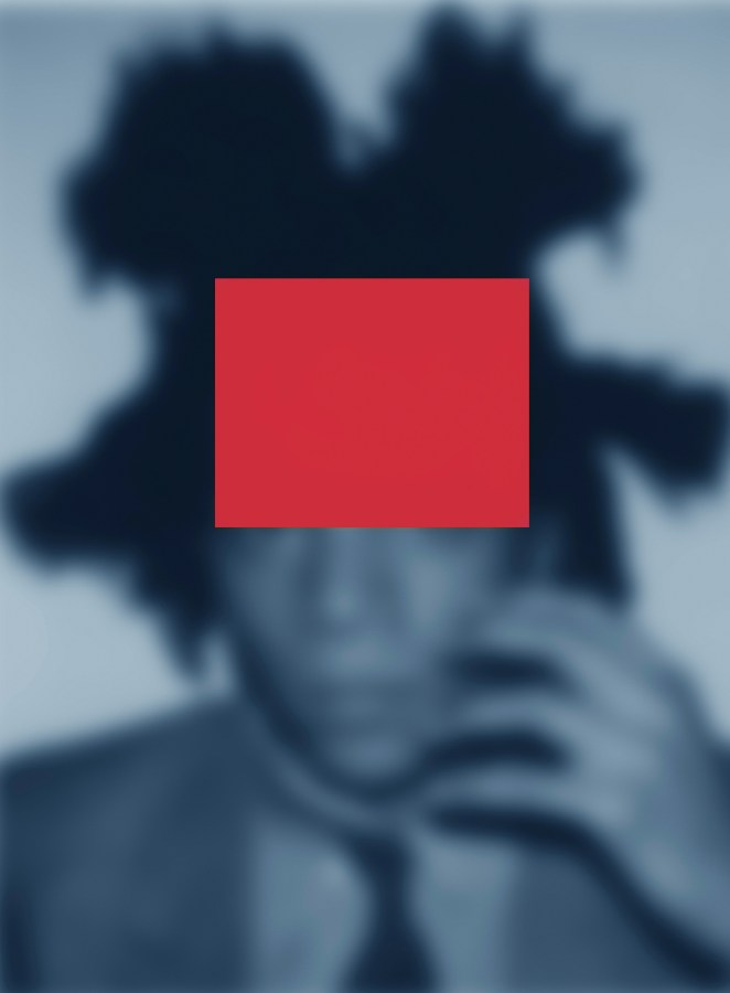 Artwork depicting a blue-toned, soft-focus portrait of Basquiat, with a red rectangle imposed over the top half of the artist's head.
