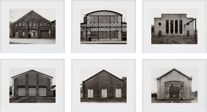 A grid of 6 black-and-white photographs showing the fronts of industrial buildings.