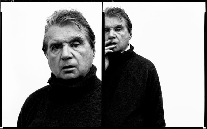 A diptych of black and white photographs of Francis Bacon. In the left, the artist appears close up, and in the right image, the artist has his hand on his face.
