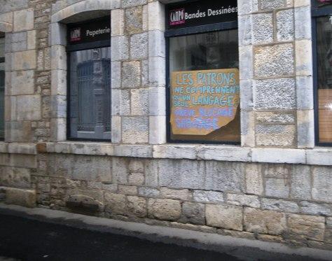 Patron, grève, blocage, sabotage - affiche - besancon, sept2013 (1)