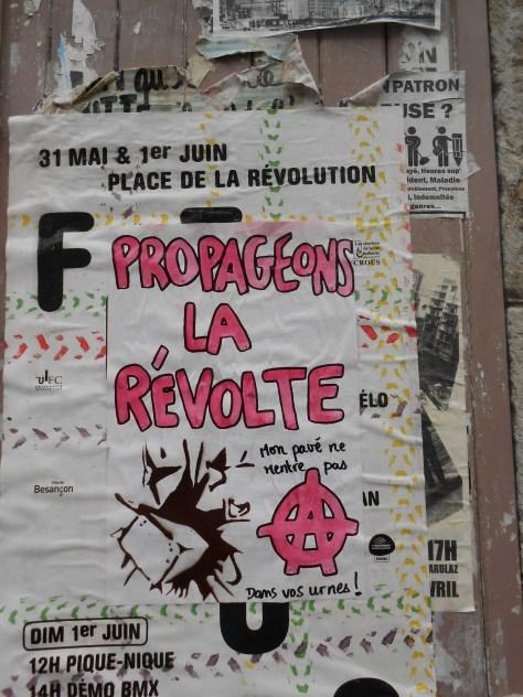besancon, juin 2014 affiche - propageons la revolte