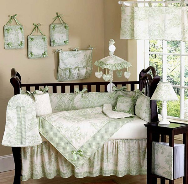 Jojo French Green Toile Baby Bedding