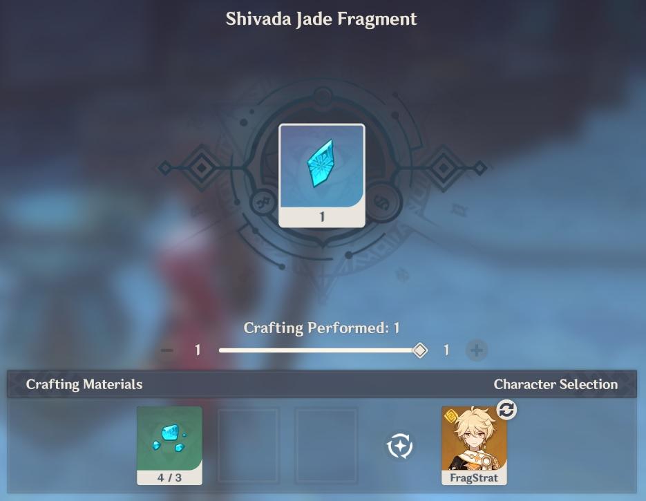 Shivada Jade Fragment crafting