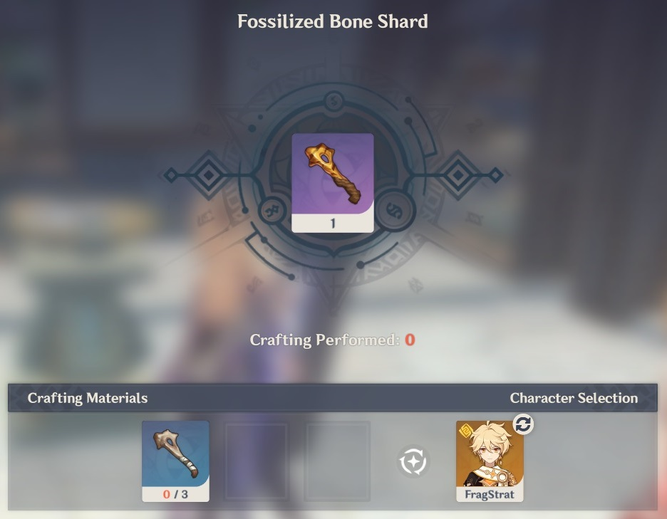 fossilized bone shard crafting