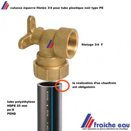 culasse equerre filetee 3 4 avec plaque de fixation murale pour tube plastique haute densite eucalene hdpe diametre 25 mm