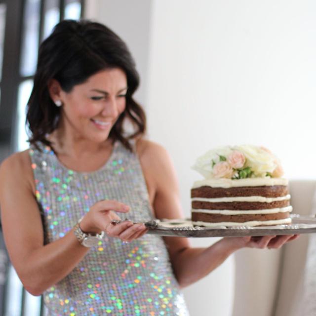 Jillian Harris holding Gingerbread Cake