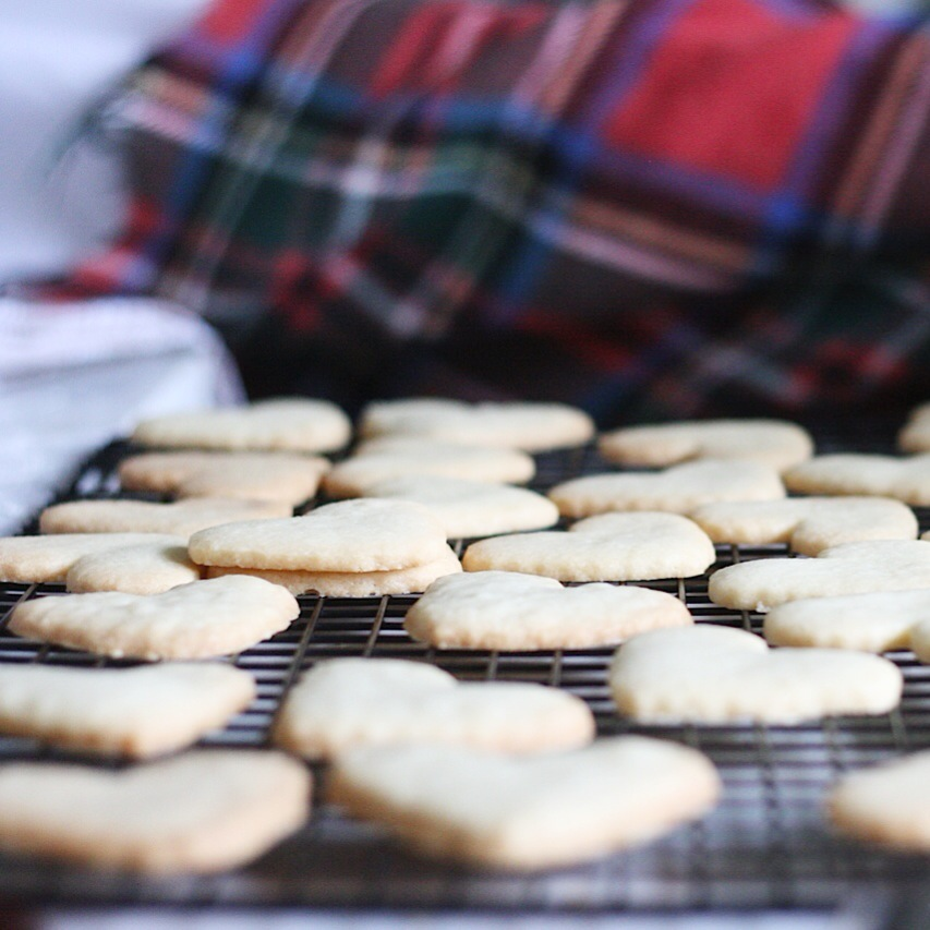 Crisp perfect homemade shortbread cookies on a wire rack