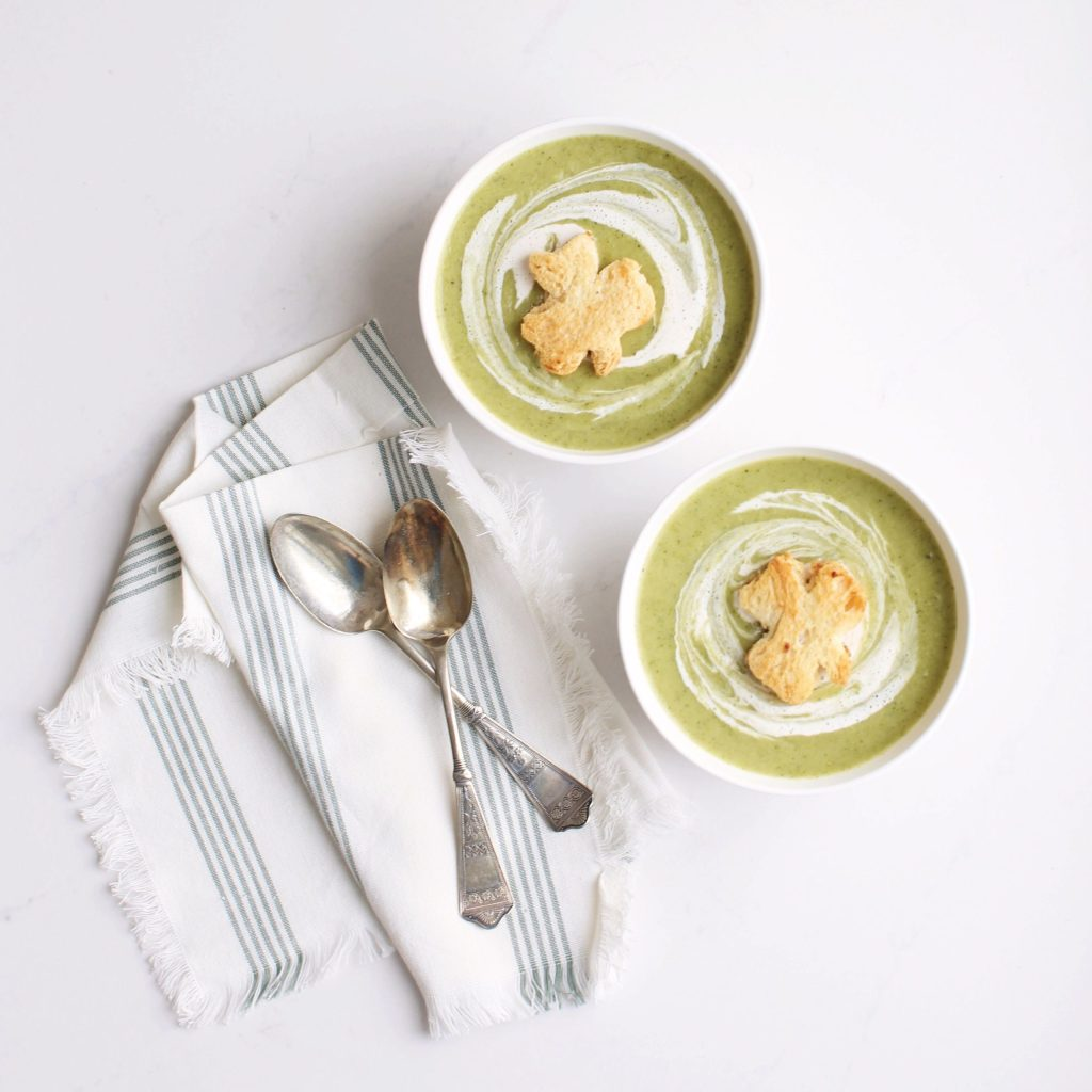 Creamy healthy vegan and gluten free Potato Broccoli Soup with shamrock croutons, perfect for St. Patrick's Day!