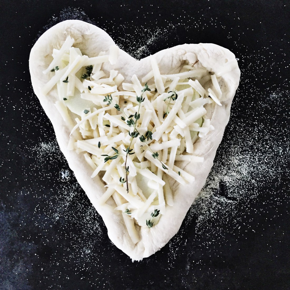 Apple, Cheddar & Thyme Heart-Shaped Pizza preparation