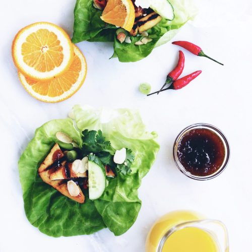 Grilled Orange Tofu or Chicken Lettuce Wraps (gluten-free)