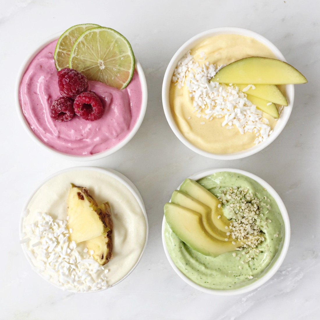 Pastel Bikini Smoothie Bowls by Fraiche Nutrition made with Genuine Health Protein Powder