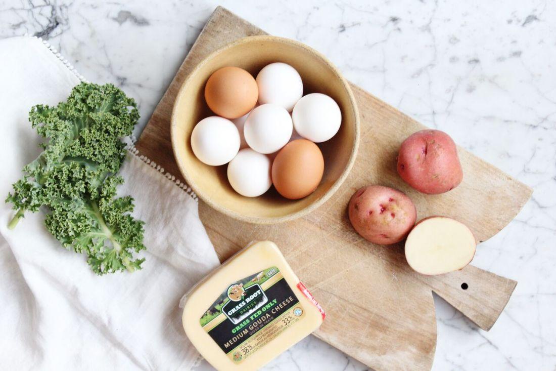 Ingredients for Kale Breakfast Skillet Pie