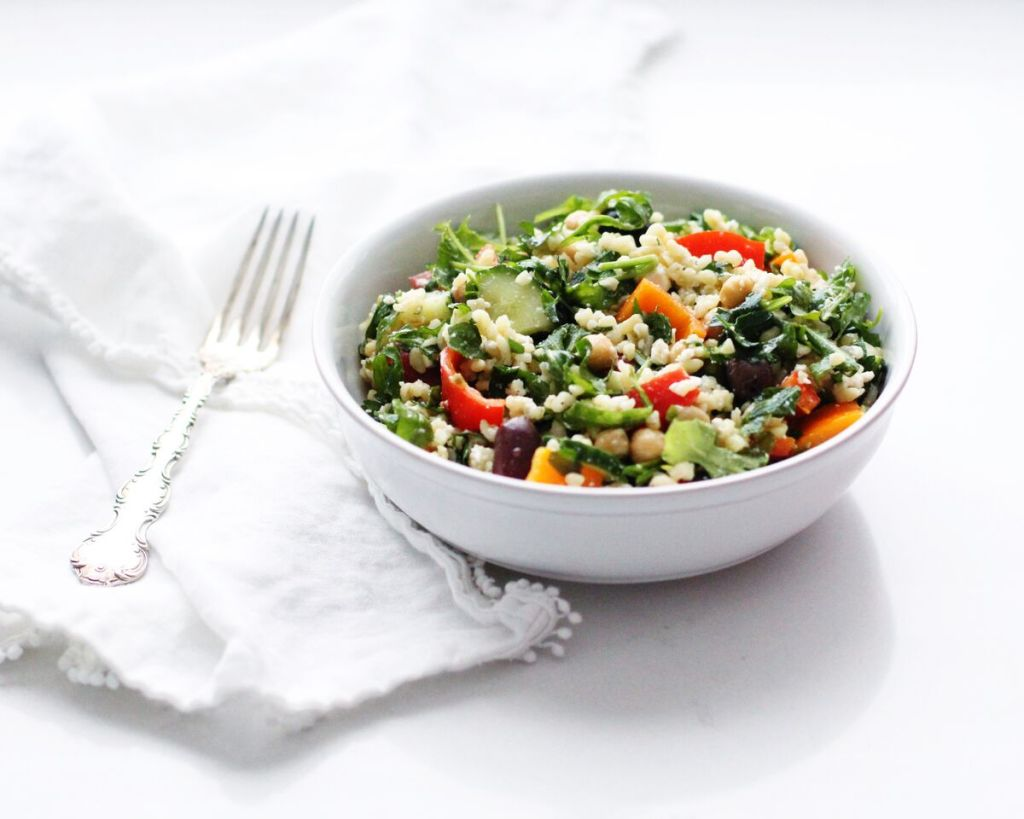 Mediterranean bulgur salad loaded with veggies and whole grains, such a satisfying vegetarian meal!