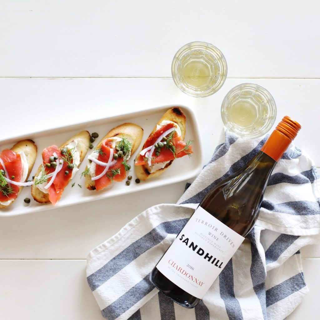 Smoked Salmon Crostini - simple, delicious and perfect for pairing with Chardonnay wine!