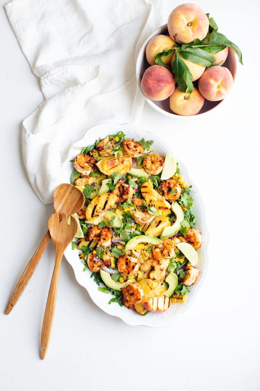 Grilled Peach and Corn Salad with Spicy Prawns and Creamy Peach Dressing by Tori Wesszer, Dietitian with Fraiche Nutrition