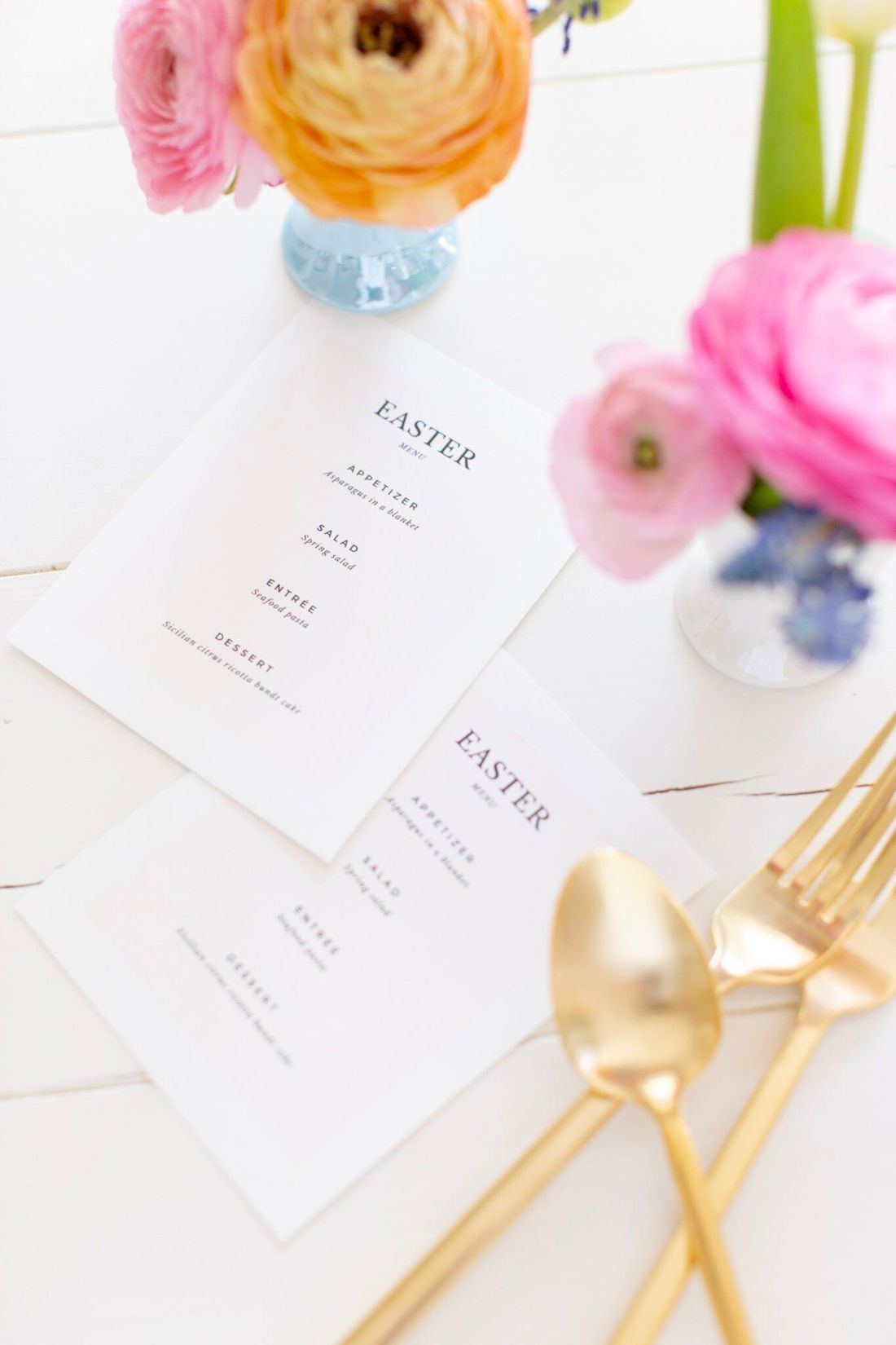 Easter Printable Menu with gold flatware