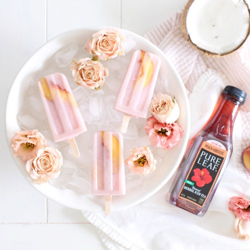 Spiked Peach Hibiscus Popsicles
