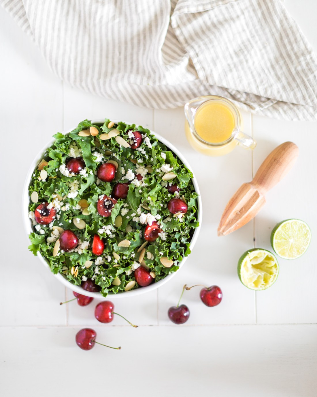 Summer Cherry Kale Salad Recipe with Honey Lime Vinaigrette (Gluten Free & Vegan)