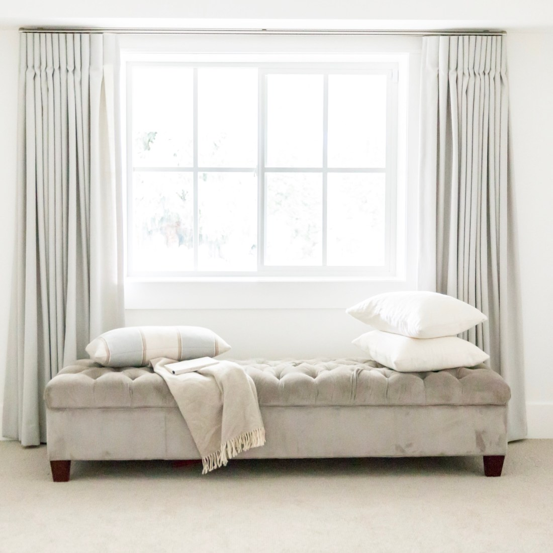 Reading nook with Fog drapes from Q Design Centre