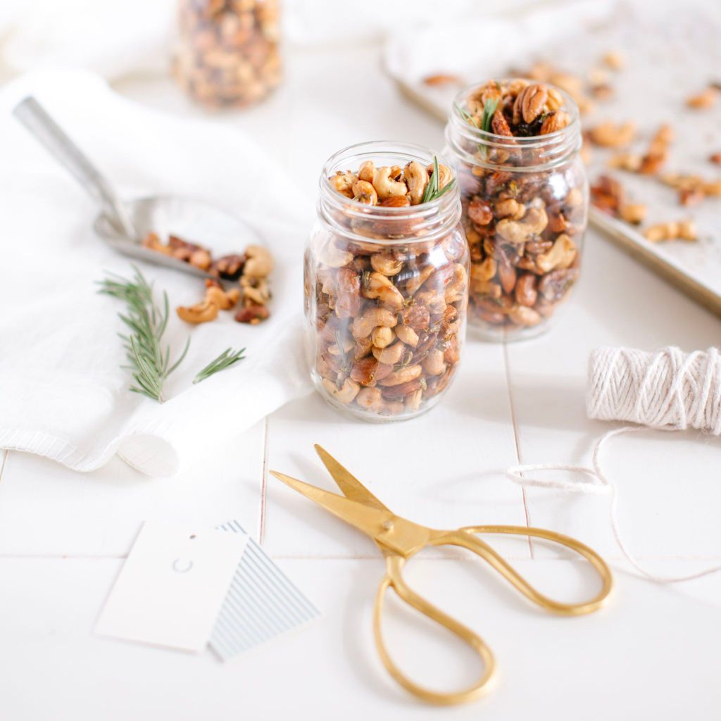 Rosemary Roasted Nuts - a perfect hostess gift or addition to your appetizer spread.